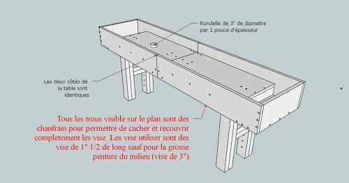 plan pour fabriquer table forestiere maison design. Black Bedroom Furniture Sets. Home Design Ideas